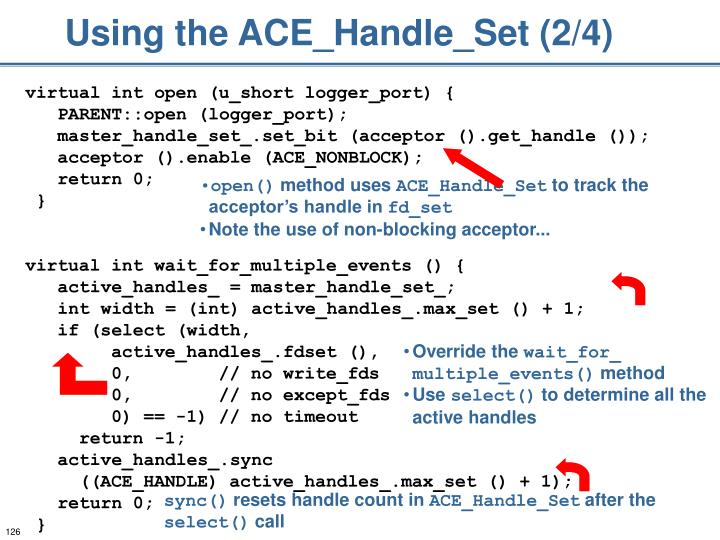 Using the ACE_Handle_Set (2/4)