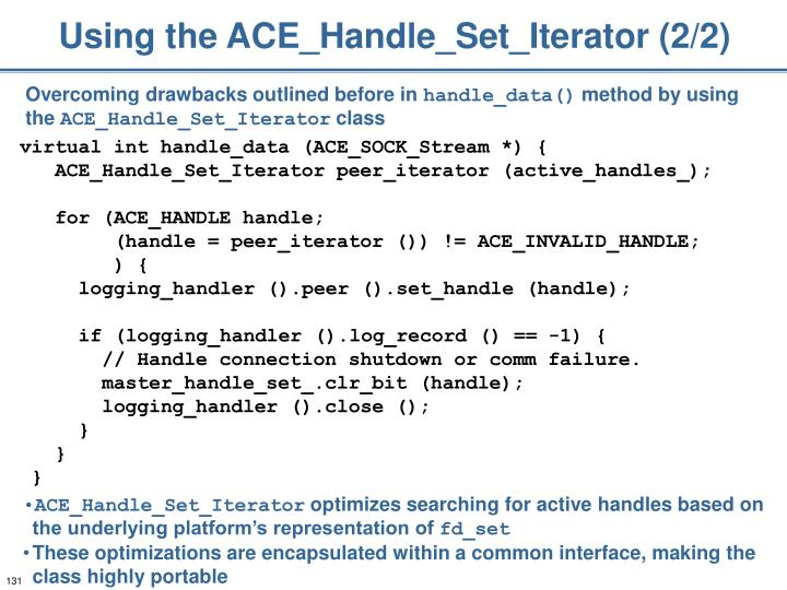 Using the ACE_Handle_Set_Iterator (2/2)