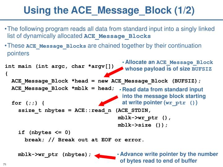 Using the ACE_Message_Block (1/2)