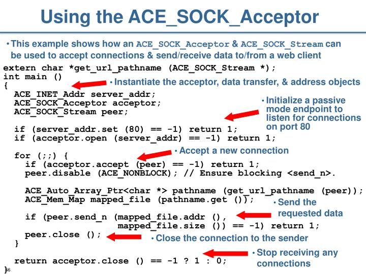 Using the ACE_SOCK_Acceptor