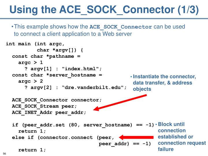 Using the ACE_SOCK_Connector (1/3)