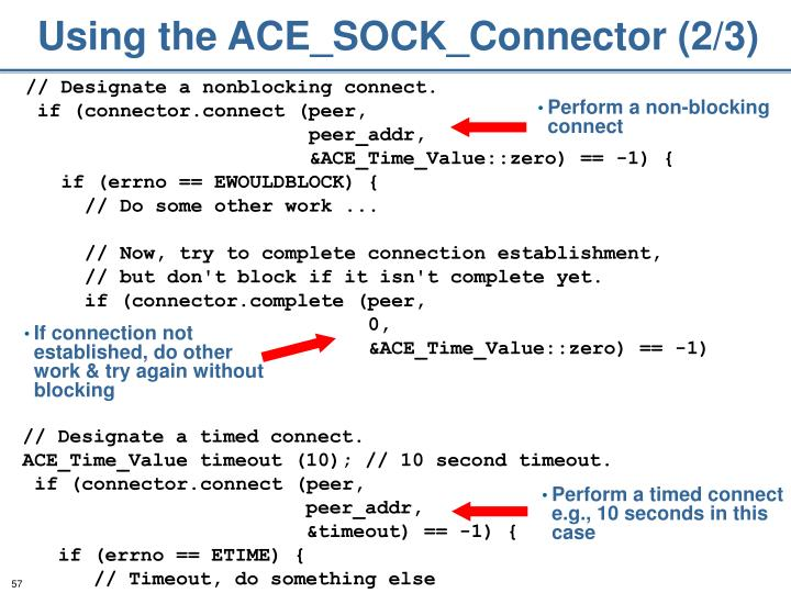 Using the ACE_SOCK_Connector (2/3)
