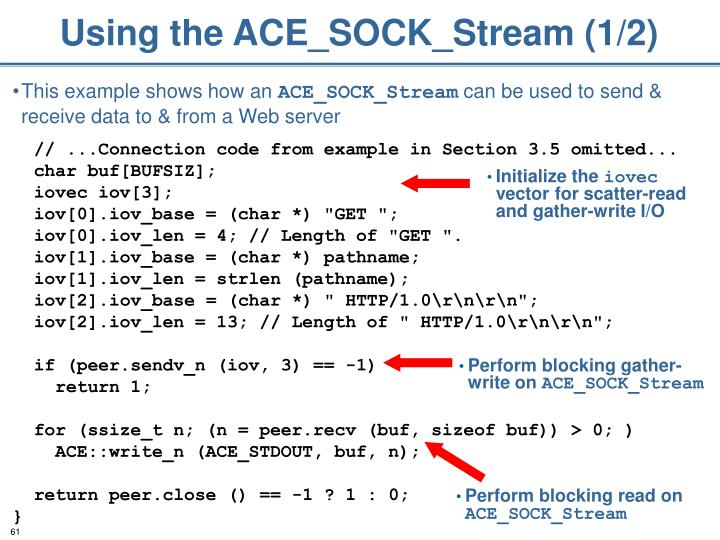 Using the ACE_SOCK_Stream (1/2)