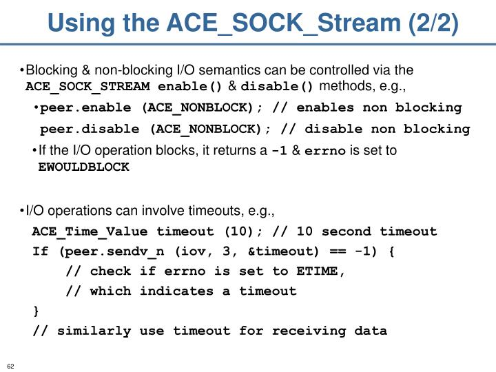 Using the ACE_SOCK_Stream (2/2)