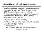 short history of high level languages