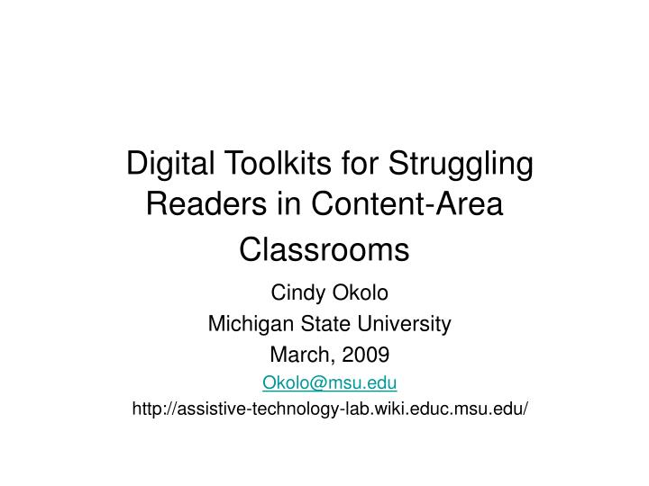 Digital toolkits for struggling readers in content area classrooms