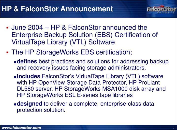 Hp falconstor announcement