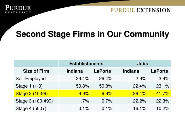 Second Stage Firms in Our Community