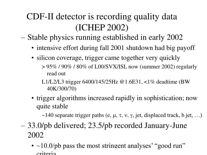 CDF-II detector is recording quality data