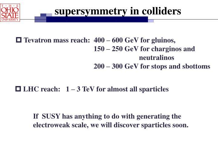 supersymmetry in colliders