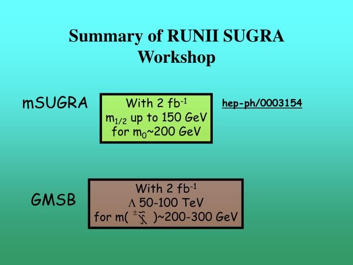 Summary of RUNII SUGRA Workshop