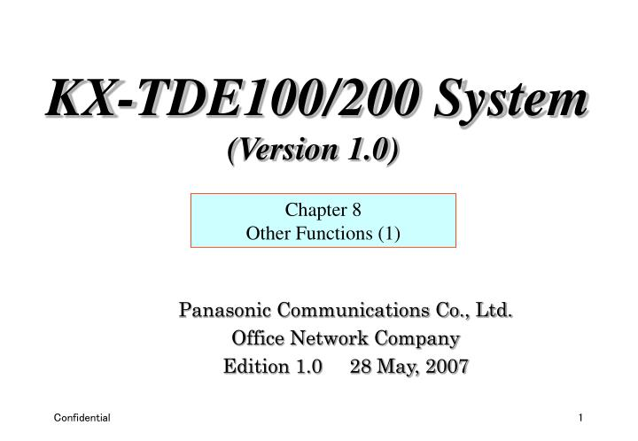 panasonic communications co ltd office network company edition 1 0 28 may 2007 n.
