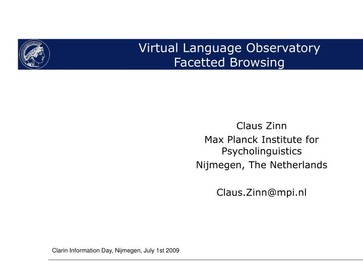 Virtual language observatory facetted browsing