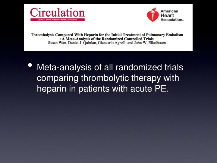 Meta-analysis of all randomized trials comparing thrombolytic therapy with heparin in patients with acute PE.