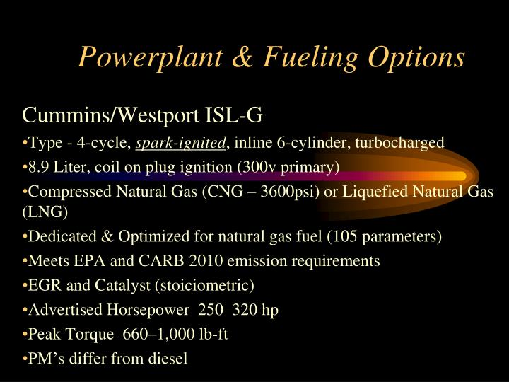 Powerplant & Fueling Options