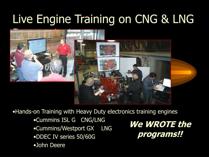 Live Engine Training on CNG & LNG Demonstrators:
