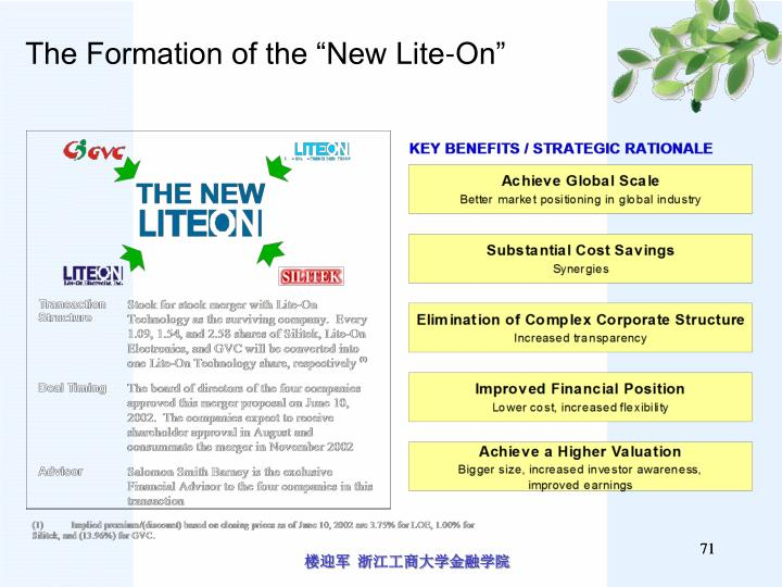 """The Formation of the """"New Lite-On"""""""