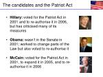 the candidates and the patriot act