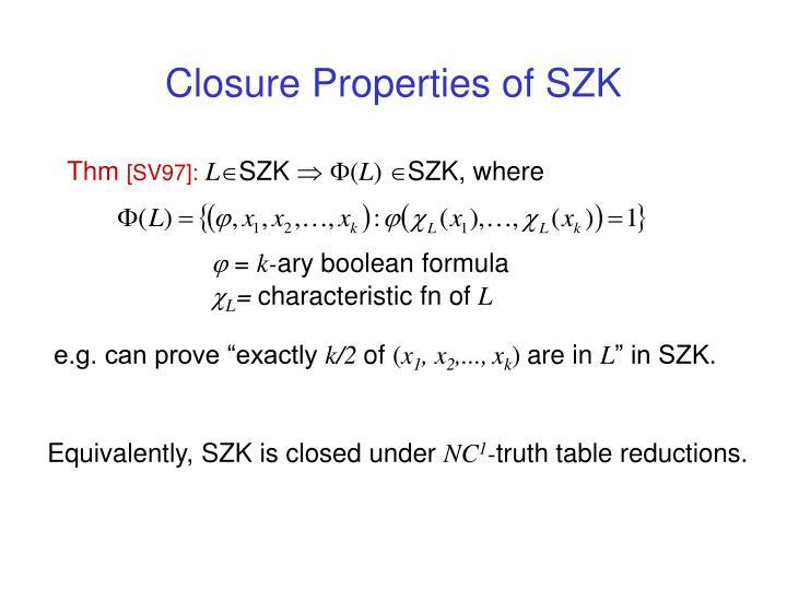 Closure Properties of SZK