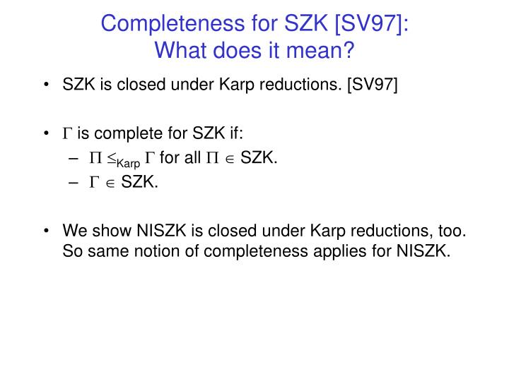 Completeness for SZK [SV97]: