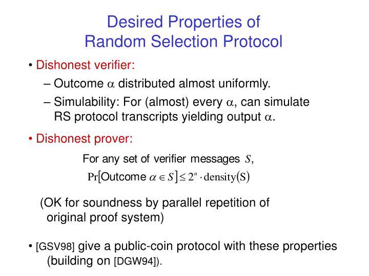 Desired Properties of