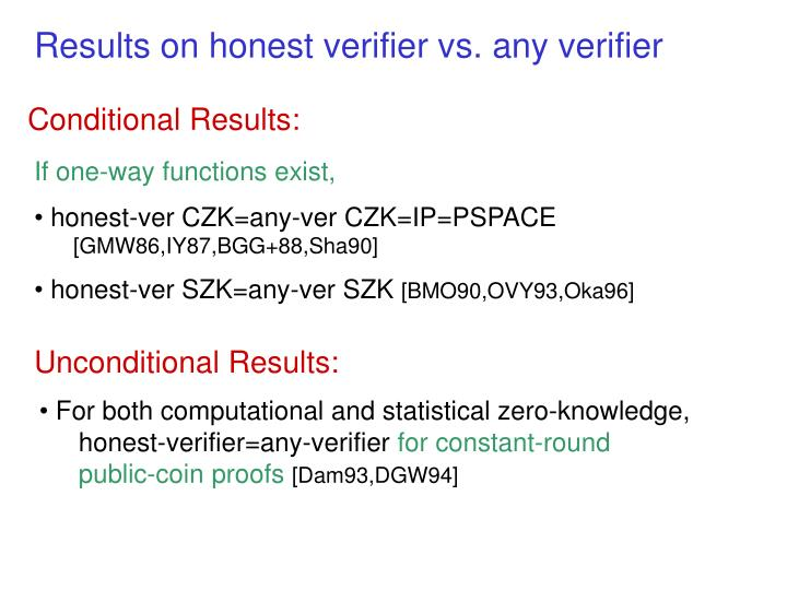 Results on honest verifier vs. any verifier