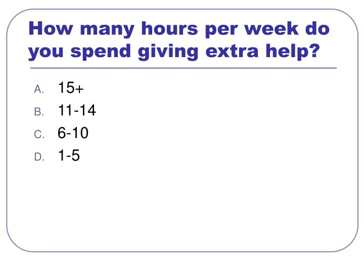 How many hours per week do you spend giving extra help?