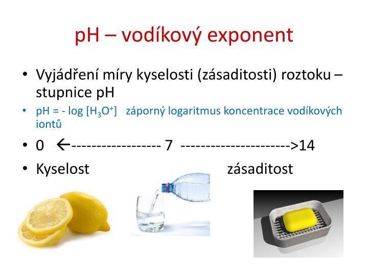 pH – vodíkový exponent