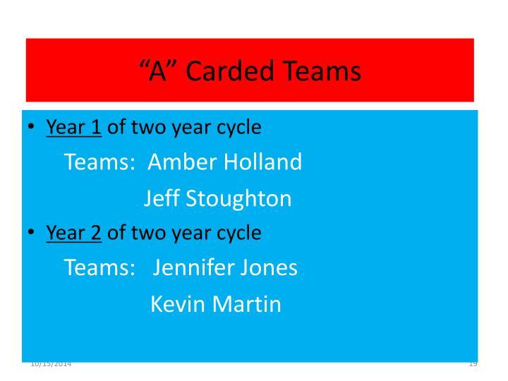 """""""A"""" Carded Teams"""