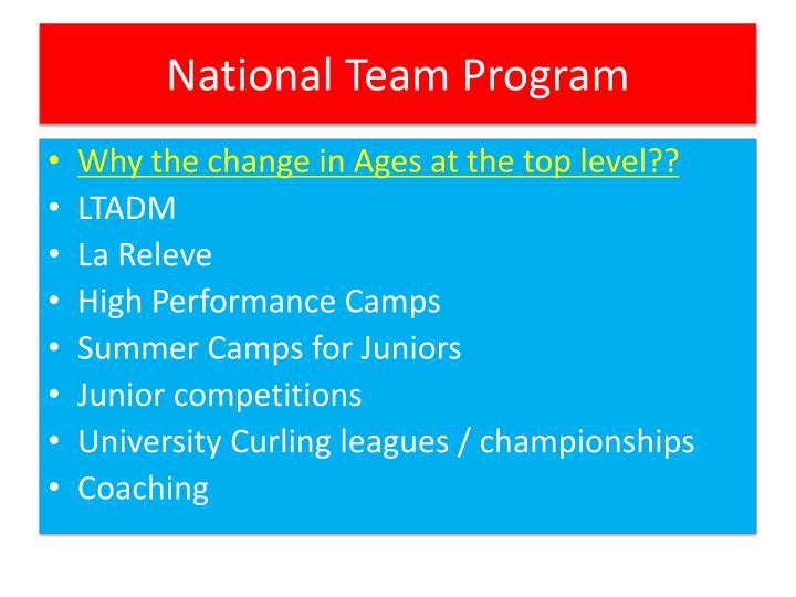 National Team Program