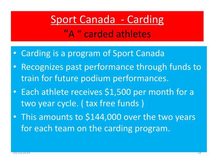 Sport Canada  - Carding