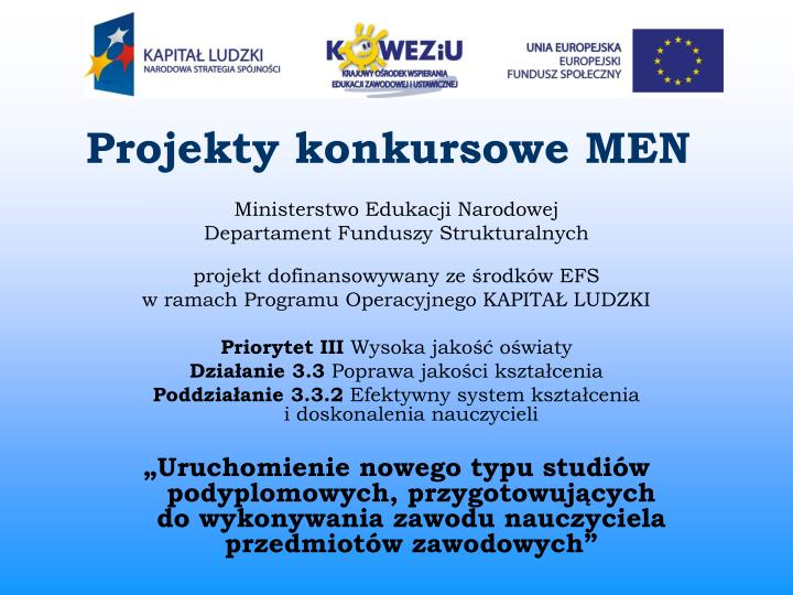 Projekty konkursowe MEN