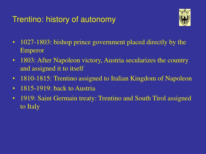 Trentino history of autonomy