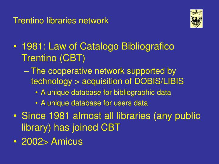 Trentino libraries network