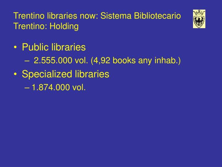 Trentino libraries now: Sistema Bibliotecario Trentino: Holding