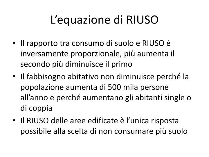 L'equazione di RIUSO