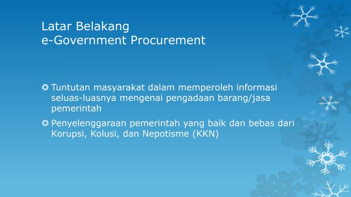 Latar belakang e government procurement