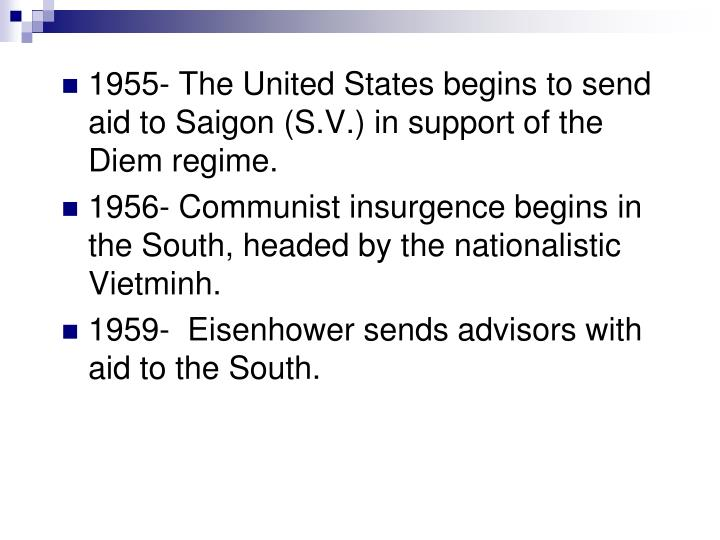 1955- The United States begins to send aid to Saigon (S.V.) in support of the Diem regime.
