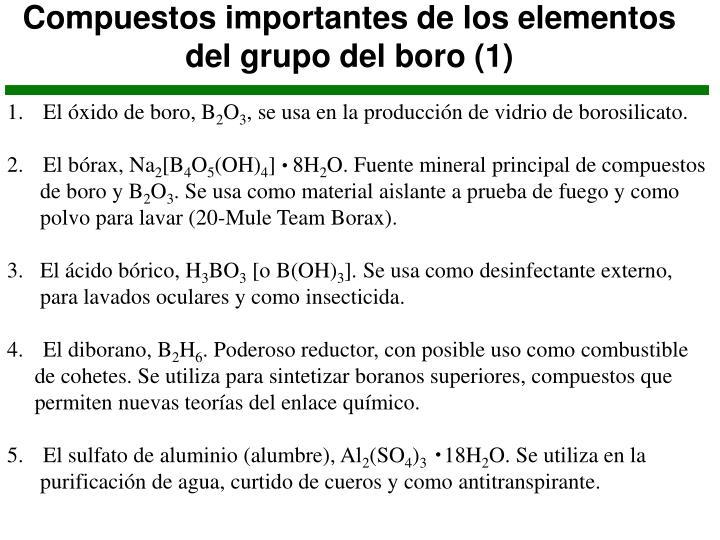 Compuestos importantes de los elementos