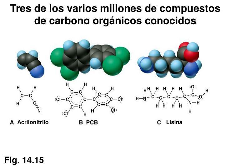 Tres de los varios millones de compuestos de carbono orgánicos conocidos