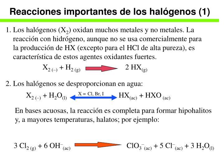 Reacciones importantes de los halógenos (1)