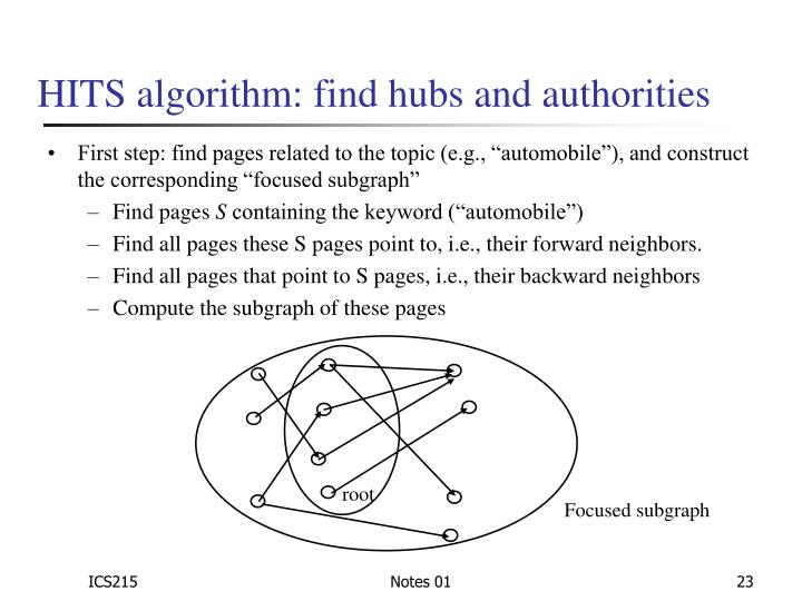 """parallelization of pagerank and hits algorithm Get a review of pagerank, the algorithm used in google's web search it has  been  hits = hyperlink-induced topic search, aka """"hubs and authorities""""   the power method can easily be parallelized (it better is."""