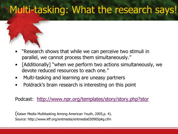 Multi-tasking: What the research says!