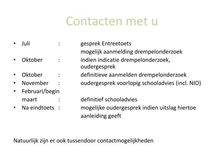 Contacten met u