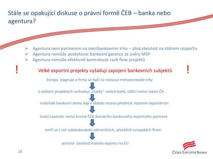 Stále se opakující diskuse o právní formě ČEB – banka nebo agentura?