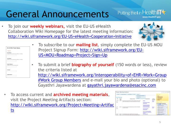 General Announcements