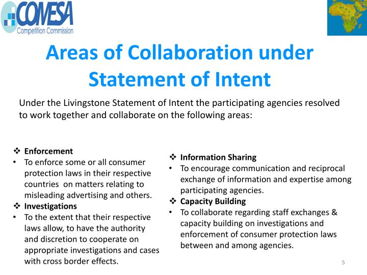 Areas of Collaboration under Statement of Intent