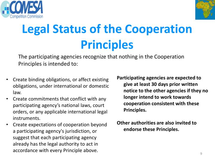 Legal Status of the Cooperation Principles