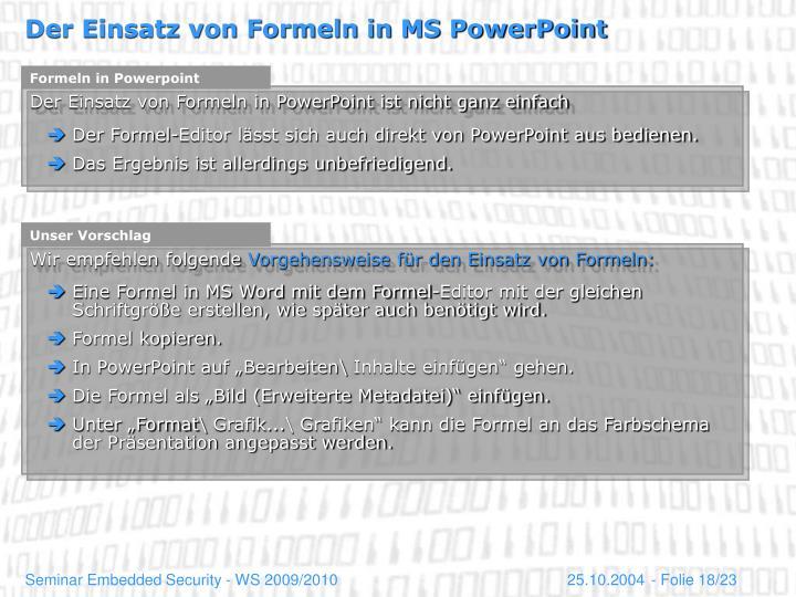 Formeln in Powerpoint