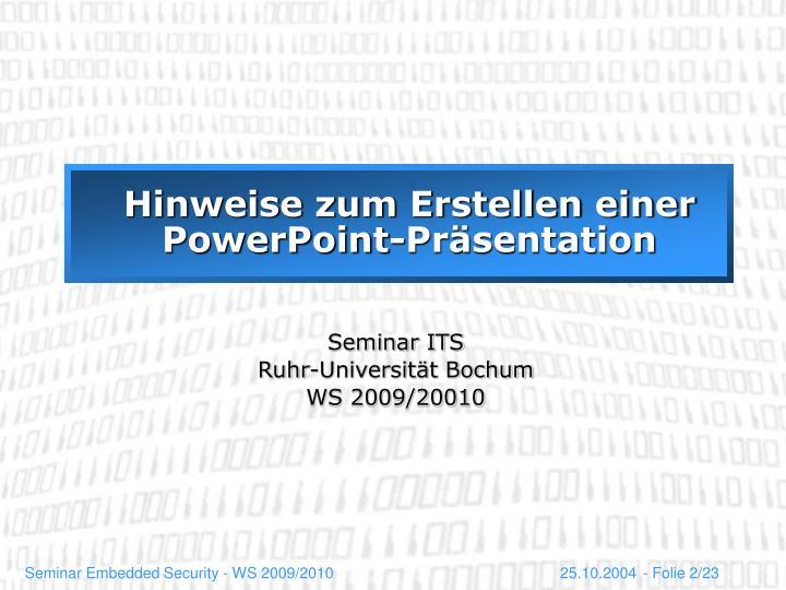 Hinweise zum erstellen einer powerpoint pr sentation